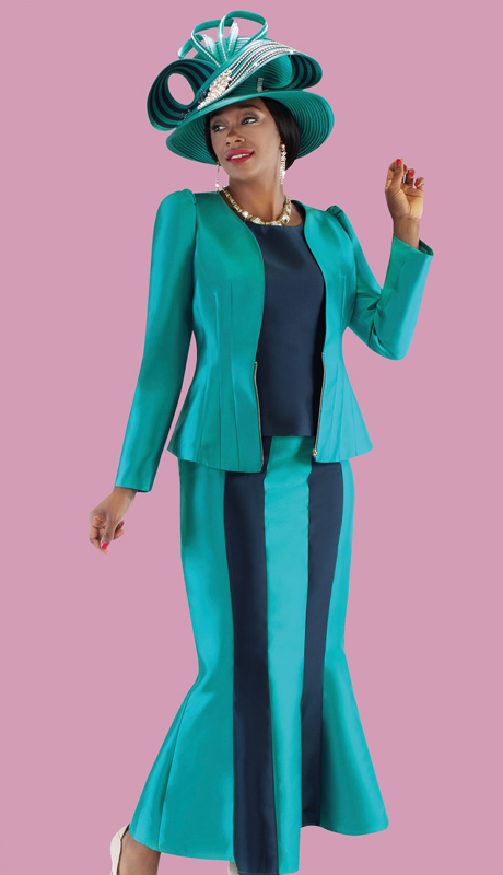 Tally Taylor 4689-PN ( 3pc Silk Mermaid Flare Skirt Suit In Two Tone Color Design )