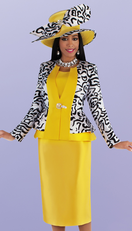 Tally Taylor 4695-GP ( 3pc Silk With Novelty Church Suit With Patterned Peplum Jacket And Solid Skirt )
