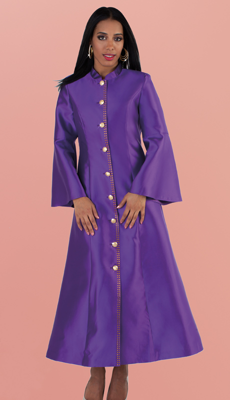 Tally Taylor 4634-PU ( 1pc Robe in Exclusive Silk With Flare Sleeves And Rhinestone Buttons For Church )