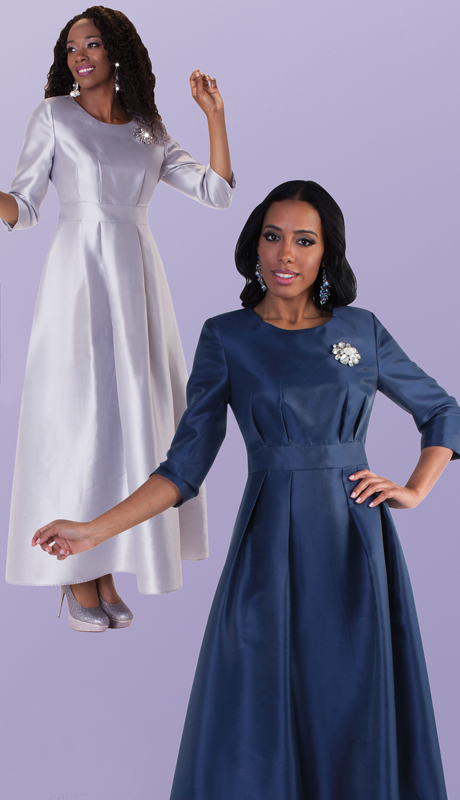 Tally Taylor 4497 ( 1pc Womens Long Church Dress With Rhinestone Brooch, Three Quarter Sleeves And Pleated Waist )
