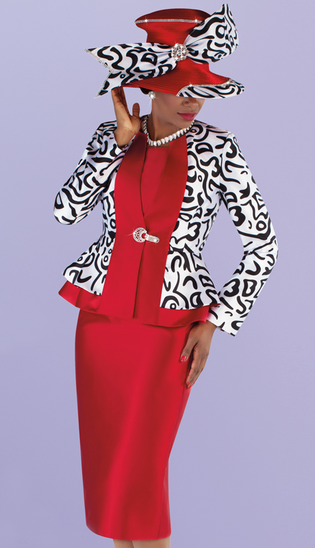 Tally Taylor 4695-RP ( 3pc Silk With Novelty Church Suit With Patterned Peplum Jacket And Solid Skirt )