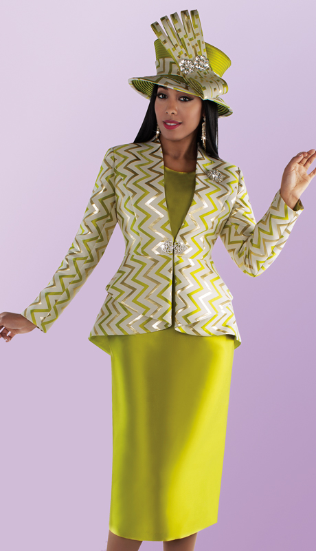 Tally Taylor 4696-PS ( 2pc Silk With Brocade Solid Color Skirt Suit With Zig Zag Print Pattern Jacket )