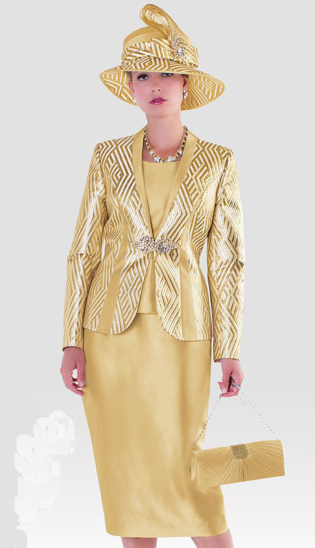 Tally Taylor 4476-IH ( 3pc Silk With Jaccquard Womens Sunday Suit With Chevron Pattern Jacket, Cami And Skirt )