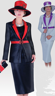 Tally Taylor 4480-IH ( 3pc Silk Womens Sunday Suit With Pleated Jacket, Cami And Skirt )