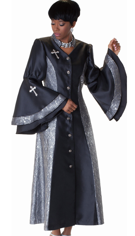 Tally Taylor 4565-IH-WE ( 1pc Jaquard Womens Church Robe With Rhinestone Buttons, Metallic Damask Pattern Sides, Flounce Sleeves And Embroidered Cross On Chest And Sleeves )