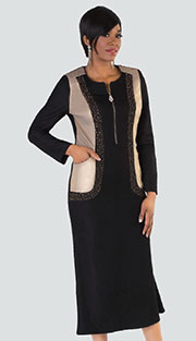 Tally Taylor 8226 ( 1pc Denim Ladies Dress With Rhinestone Detail And Shimmering Gold Color Block )
