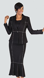 Tally Taylor 8222 ( 3pc Denim Ladies Sunday Suit With Stripe Detail, Jacket Cami And Skirt )