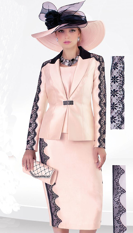 Tally Taylor 4485 ( 3pc Silk With Lace Womens Sunday Suit With Lace Detail Jacket, Cami And Skirt )