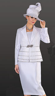 Tally Taylor 4513-WH ( 2pc Silk Look Womens Sunday Suit With Ribbon Stripe And Rhinestone Embellishment On Jacket With Skirt )