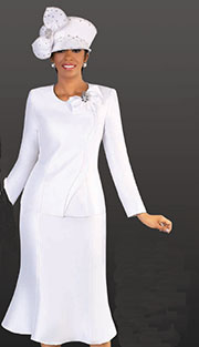 Tally Taylor 4509 ( 2pc Silk Look Womens Sunday Suit With Rhinestone Bow And Wavy Rhinetsone Detail Down Front Of Jacket With Skirt )