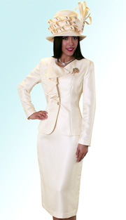 Tally Taylor 4533 ( 2pc Brocade Womens Sunday Suit With Cascading Collar Jacket, Rhinestone Brooch And Skirt )