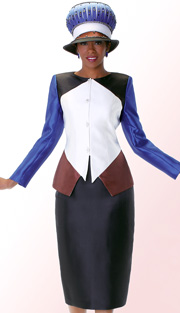 Tally Taylor 4542  ( 2pc Silk Look Ladies Sunday Suit With Rhinestones Buttons And Color Block Jacket With Skirt )