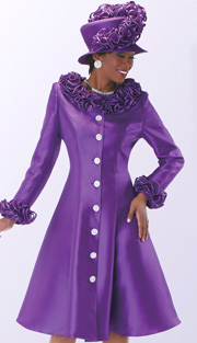 Tally Taylor 4541-PUR ( 1pc Silk Look Women Sunday Dress With Ruffle Collar And Sleeve )