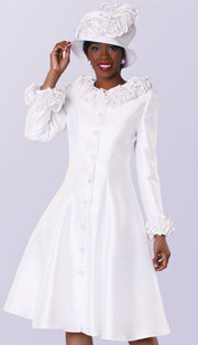 Tally Taylor 4541-WH ( 1pc Silk Look Women Sunday Dress With Ruffle Collar And Sleeve )