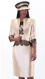 Tally Taylor 4540-NU ( 2pc Silk Look With Lace Ladies Sunday Suit )