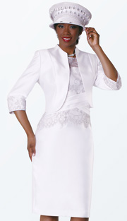 Tally Taylor 4540-WH ( 2pc Silk Look With Lace  Ladies Sunday Suit )