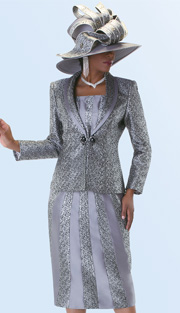 Tally Taylor 4539  ( 3pc Jacquard  Ladies Church Suit With Shawl Lapel )