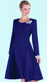 Tally Taylor 4475-NAV ( 1pc Silk Look Womens Fit And Flare Sunday Dress With Rhinestone Brooch )