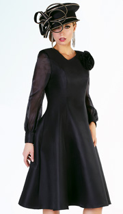 Tally Taylor 4521-BLK ( 1pc Silk Look Womens Fit And Flare Sunday Dress With Sheer Cuff Sleeves And Fabric Rosette Brooch )