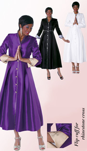 Tally Taylor 4530  ( 1pc Silk Look  Women Sunday Robe For Church With Rhinestones Details )
