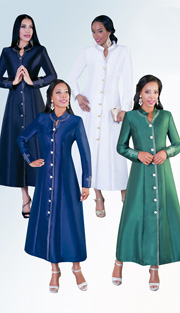 Tally Taylor 4445-A ( 1pc Silk Look  Women Sunday Robe hinestones Details )