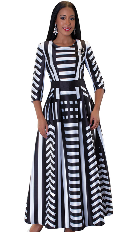 Tally Taylor 4497-BW ( 1pc Womens Long Church Dress With Stripe Pattern, Rhinestone Brooch, Three Quarter Sleeves And Pleated Waist )