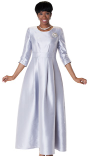 Tally Taylor 4497-SIL  ( 1pc Womens Long Church Dress With Rhinestone Brooch, Three Quarter Sleeves And Pleated Waist )