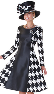 Tally Taylor 4538-BLK ( 1pc Ladies Church Dress With Houndstooth Pattern And Detachable Brooch )