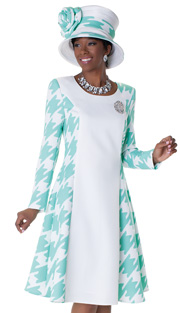 Tally Taylor 4538-WH ( 1pc Ladies Church Dress With Houndstooth Pattern And Detachable Brooch )
