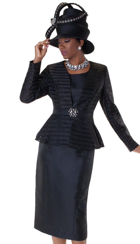 Tally Taylor 4545-BLK ( 3pc Womens Church Suit With Rhinestone Buckle And Sheer, Tonal Stripe Jacket With Cami And Skirt )