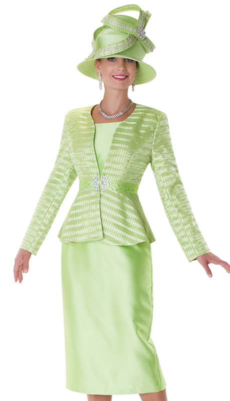 Tally Taylor 4545-LI ( 3pc Womens Church Suit With Rhinestone Buckle And Sheer, Tonal Stripe Jacket With Cami And Skirt )
