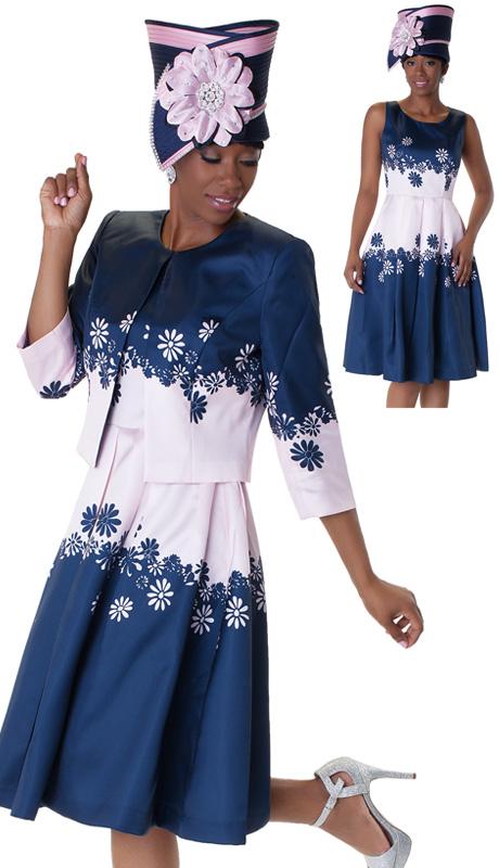 Tally Taylor 4546-NA ( 2pc Ladies Church Dress With Daisy Print And Three Quarter Sleeve Jacket )