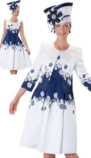 Tally Taylor 4546-WH ( 2pc Ladies Church Dress With Daisy Print And Three Quarter Sleeve Jacket )