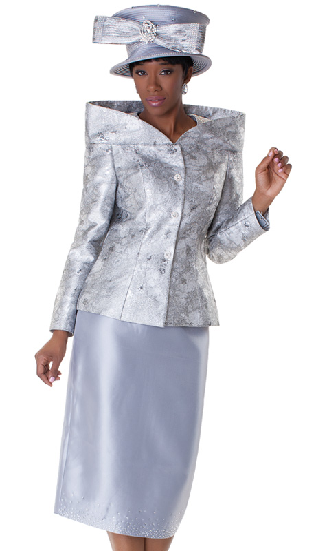 Tally Taylor 4548-SIL ( 2pc Womens Church Suit With High Collar And Metallic Marble Pattern Jacket, Rhinestone Embellished Skirt )