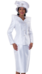 Tally Taylor 4548-WH ( 2pc Womens Church Suit With High Collar And Metallic Marble Pattern Jacket, Rhinestone Embellished Skirt )