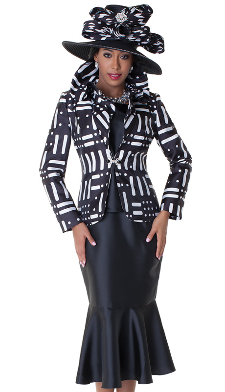 Tally Taylor 4550-BLK ( 2pc Church Suit With Rhinestone Buckle, Ruffle Collar Jacket With Cami And Trumpet Skirt )