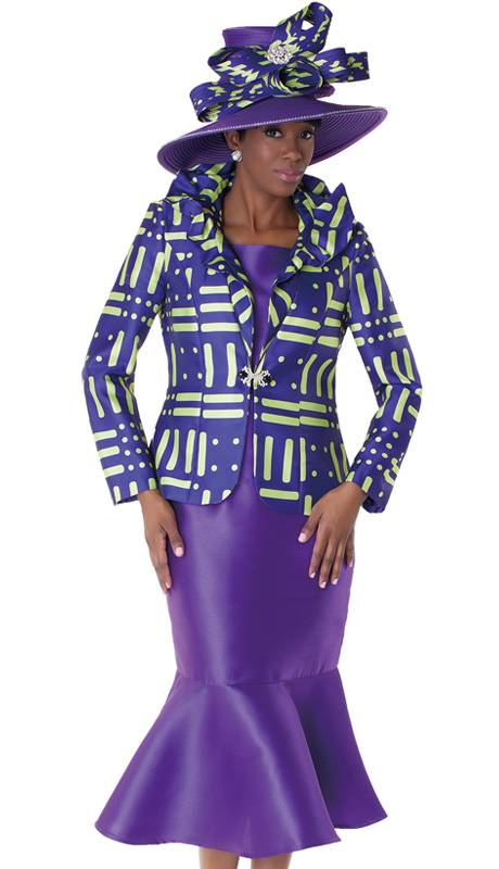 Tally Taylor 4550-PUR ( 2pc Church Suit With Rhinestone Buckle, Ruffle Collar Jacket With Cami And Trumpet Skirt )