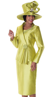 Tally Taylor 4551-OL ( 3pc Ladies Church Suit With Rhinestone And Mini Flower Embellishment On Asymetrical Collar And Button, With Cami And Skirt )