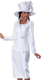 Tally Taylor 4551-WH ( 3pc Ladies Church Suit With Rhinestone And Mini Flower Embellishment On Asymetrical Collar And Button, With Cami And Skirt )