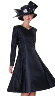 Tally Taylor 4555-BLK ( 1pc Jacquard Ladies Church Dress With Floral Pattern )
