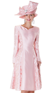 Tally Taylor 4555-ROS ( 1pc Jacquard Ladies Church Dress With Floral Pattern )