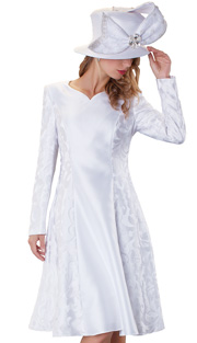 Tally Taylor 4555-WH ( 1pc Jacquard Ladies Church Dress With Floral Pattern )