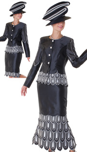 Tally Taylor 4556-BLK ( 2pc Womens Church Suit With Rhinestone Buttons, Embroidered Petal Details On Jacket And Detachable Skirt )