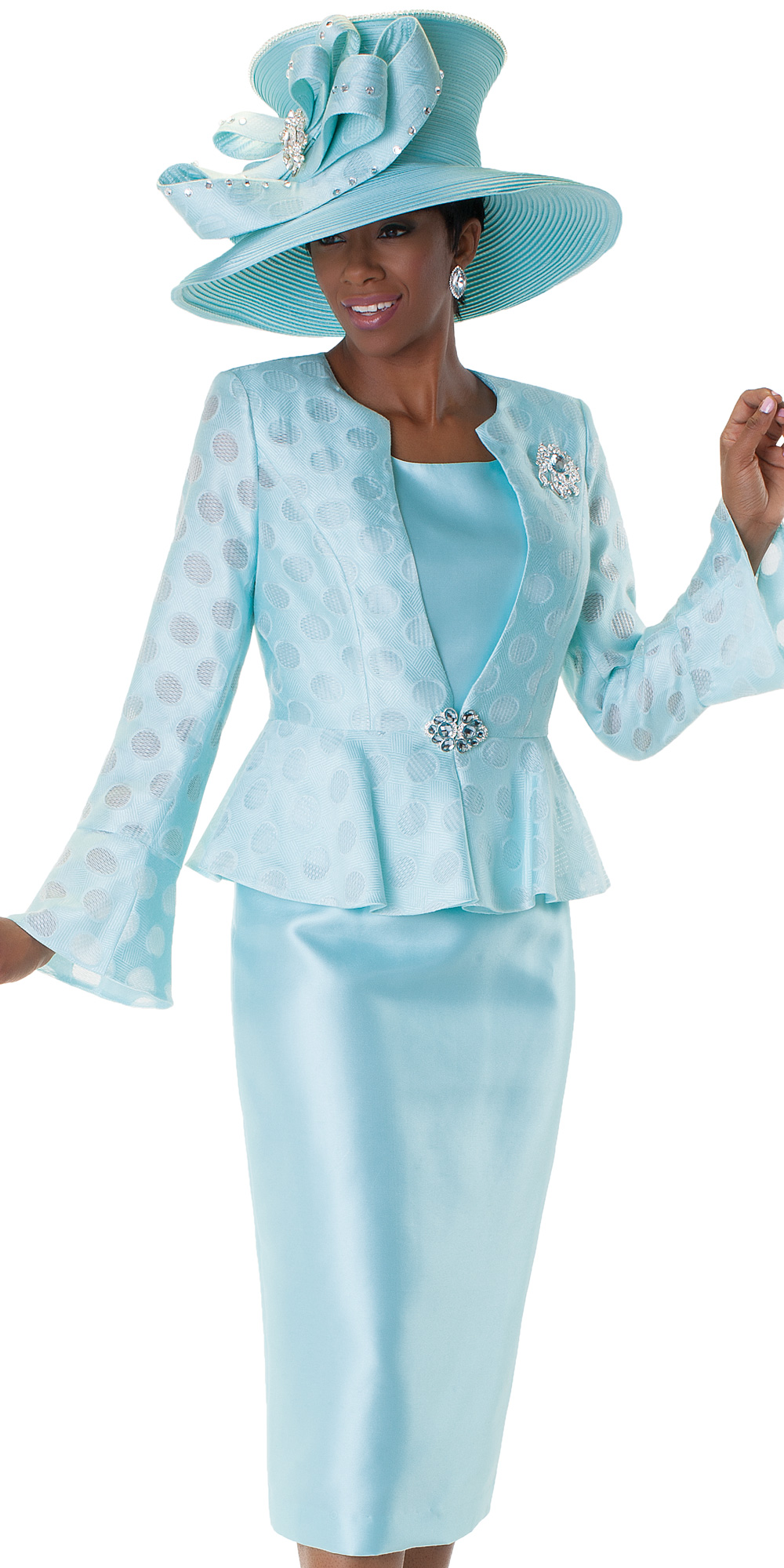 Tally Taylor 4562-MI-IM ( 3pc Jacquard Womens Sunday Suit With Poka Dot Pattern, Rhinestone Clasp, Detachable Brooch And Peplum Waist On Jacket With Cami And Skirt )