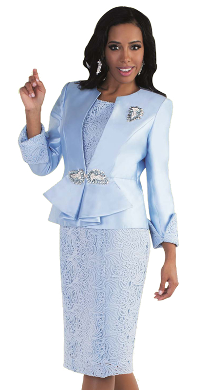 Tally Taylor 4562-YE ( 3pc Jacquard Womens Sunday Suit With Poka Dot Pattern, Rhinestone Clasp, Detachable Brooch And Peplum Waist On Jacket With Cami And Skirt )