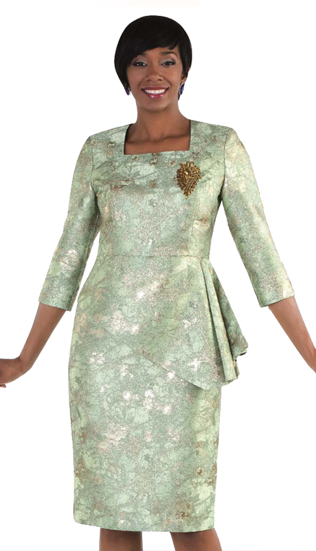 Tally Taylor 4563-GR ( 2pc Ladies Church Dress With Painterly Rose Print And Detachable Cape With Rhinestone Buttons On Collar )