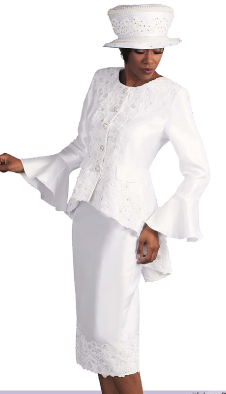 Tally Taylor 4565 ( 1pc Jaquard Womens Church Robe With Rhinestone Buttons, Metallic Damask Pattern Sides, Flounce Sleeves And Embroidered Cross On Chest And Sleeves )