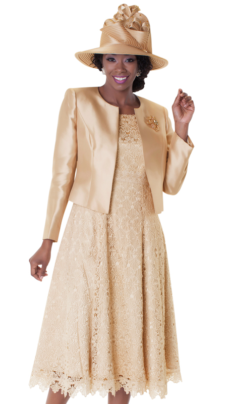Tally Taylor 4529-CH-IH ( 2pc Dress Suit With Detachable Rhinestone Brooch Graceful Pleated Lace Silk Look Jacket )