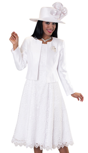 Tally Taylor 4529-WH-IH ( 2pc Dress Suit With Detachable Rhinestone Brooch Graceful Pleated Lace Silk Look Jacket )