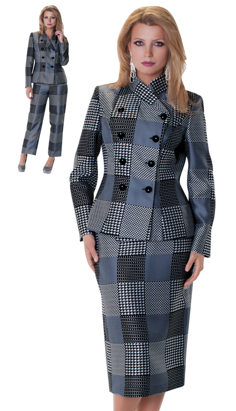 Tally Taylor 4598-GR-IH ( 3pc Skirt Pants And Jacket Multi Print Plaid Suit )
